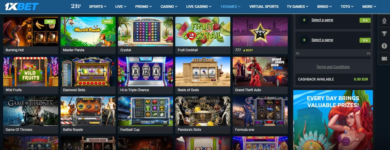casino 1xBet slots