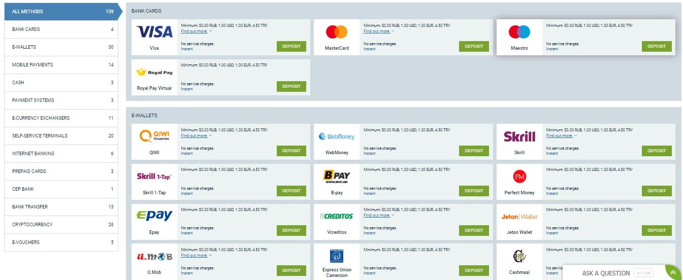 Payment methods 1xBet